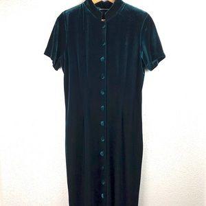 Vintage Emerald Green Velvet Maxi Dress